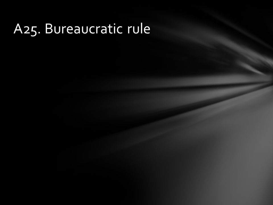 A25. Bureaucratic rule