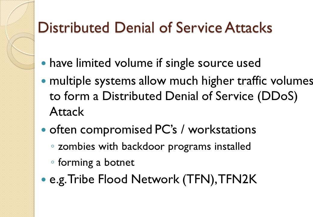 Distributed denial of service attacks pdf