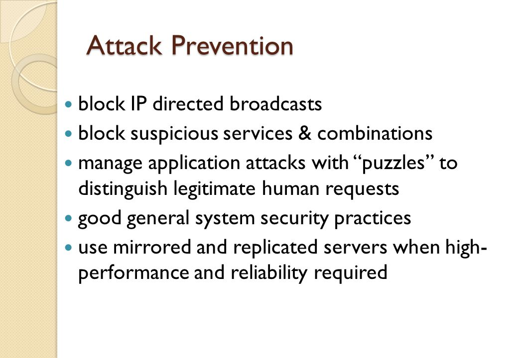 Attack Prevention block IP directed broadcasts