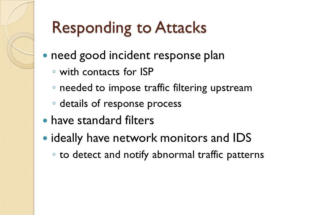 Responding to Attacks need good incident response plan