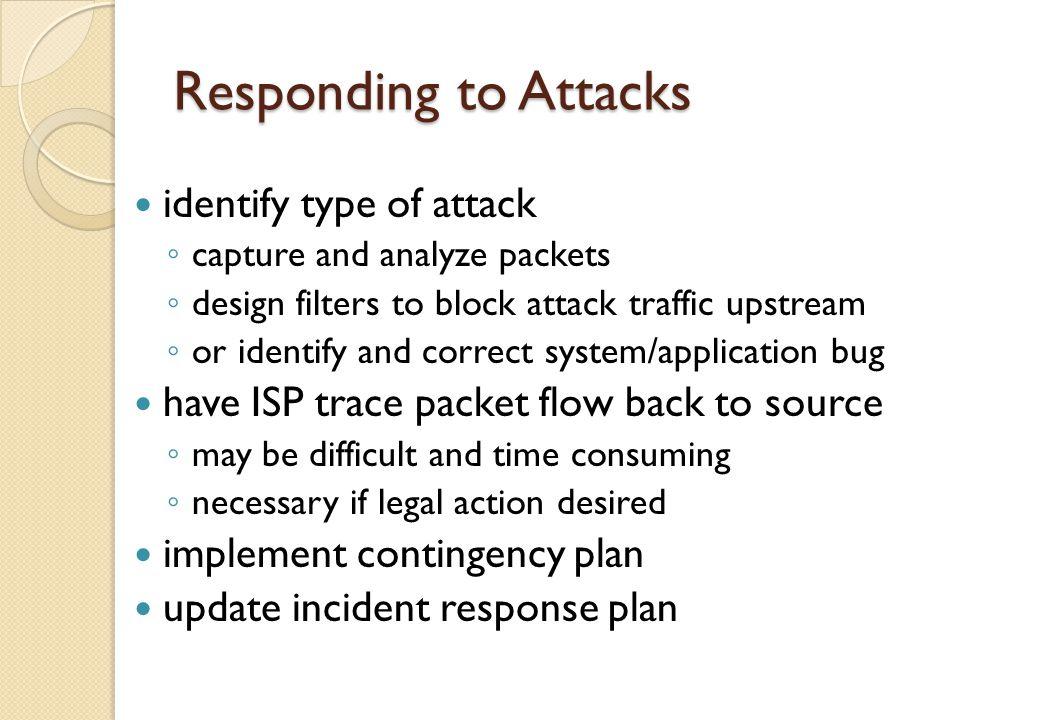 Responding to Attacks identify type of attack