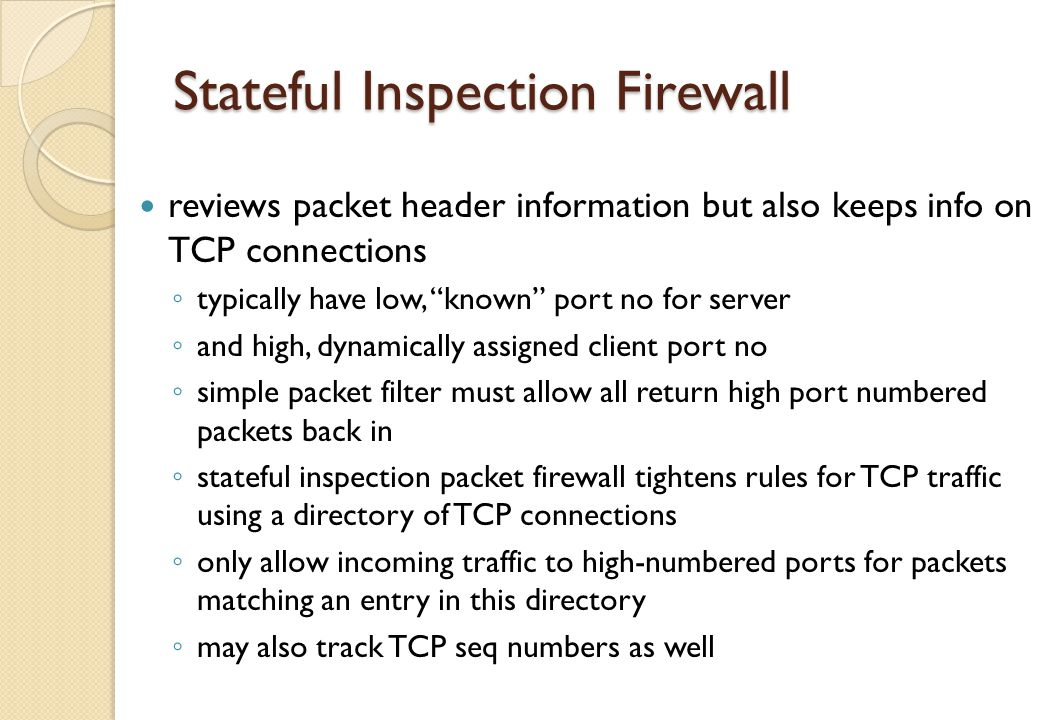 Stateful Inspection Firewall