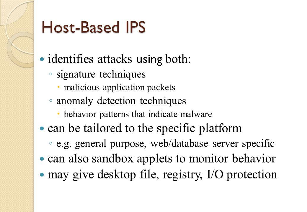 Host-Based IPS identifies attacks using both: