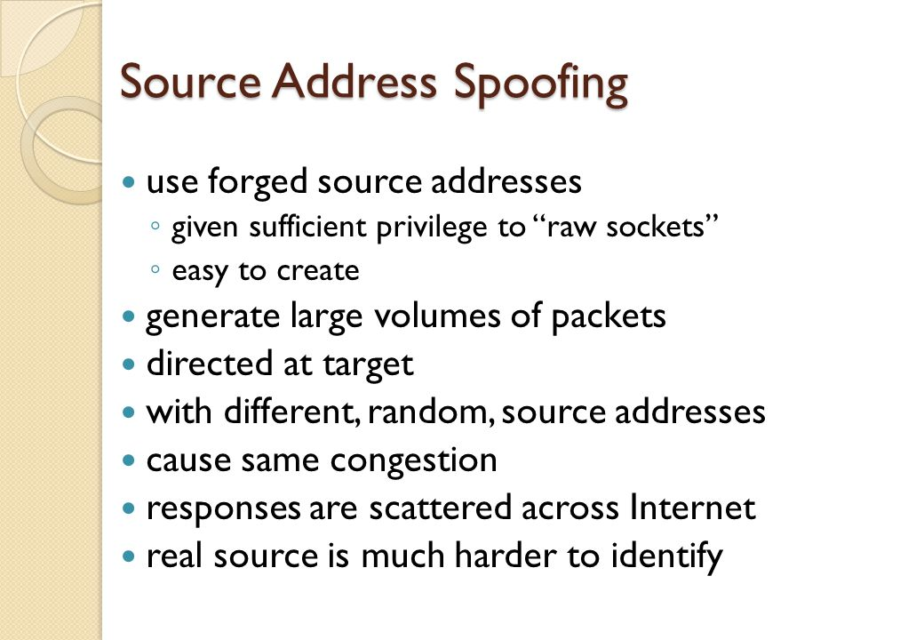 Source Address Spoofing