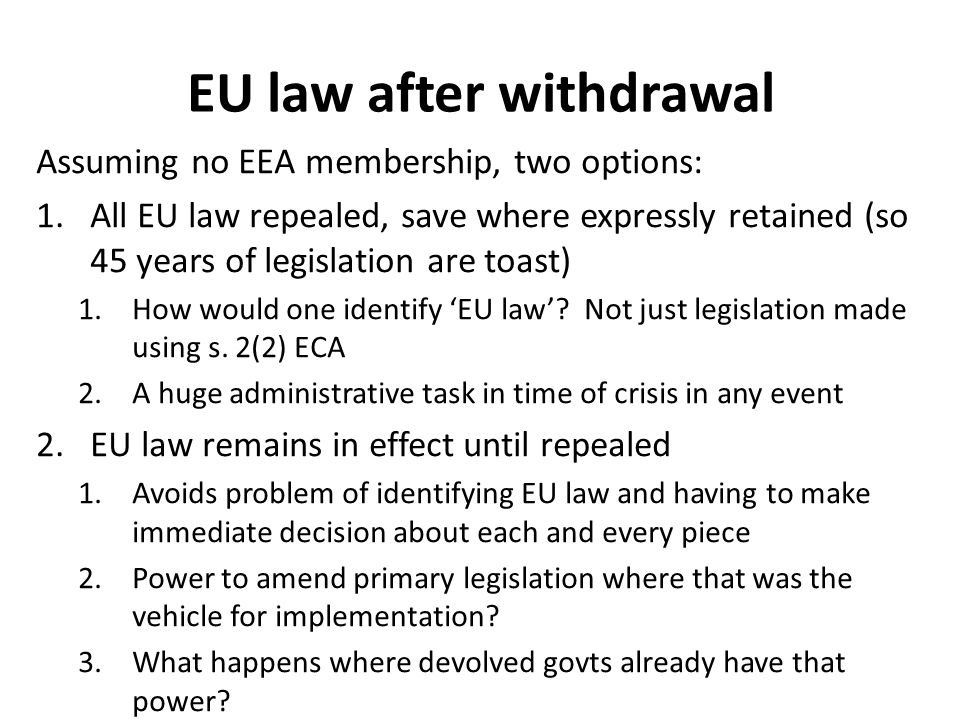 EU law after withdrawal