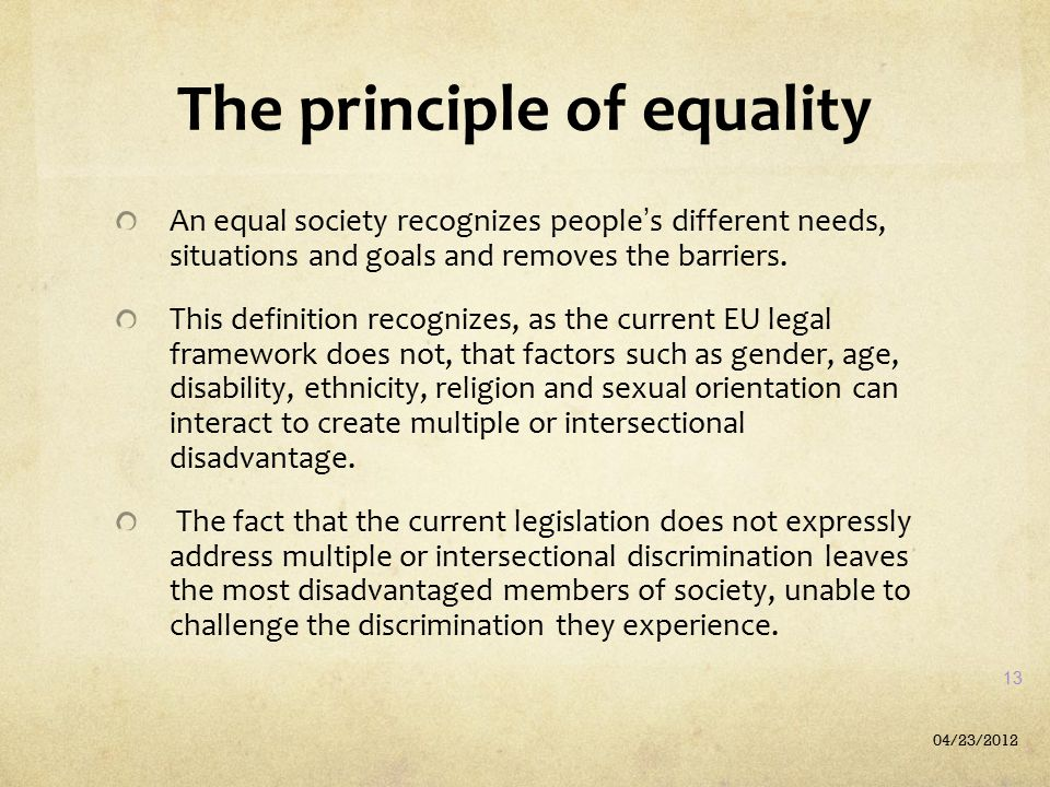 The principle of equality
