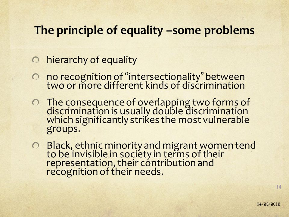 The principle of equality –some problems
