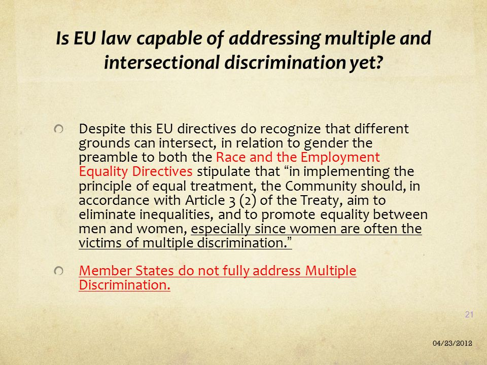 Is EU law capable of addressing multiple and intersectional discrimination yet