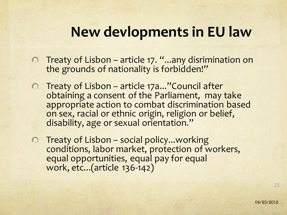 New devlopments in EU law