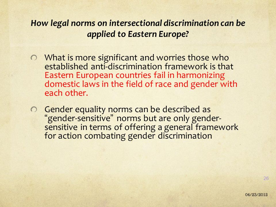 How legal norms on intersectional discrimination can be applied to Eastern Europe