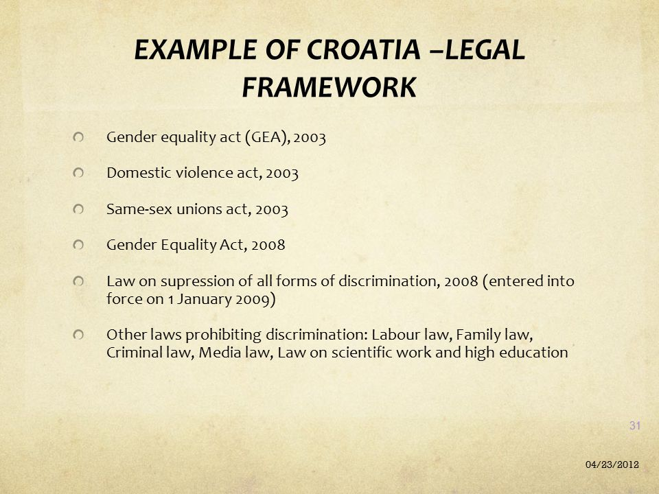 EXAMPLE OF CROATIA –LEGAL FRAMEWORK