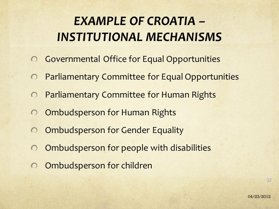 EXAMPLE OF CROATIA – INSTITUTIONAL MECHANISMS