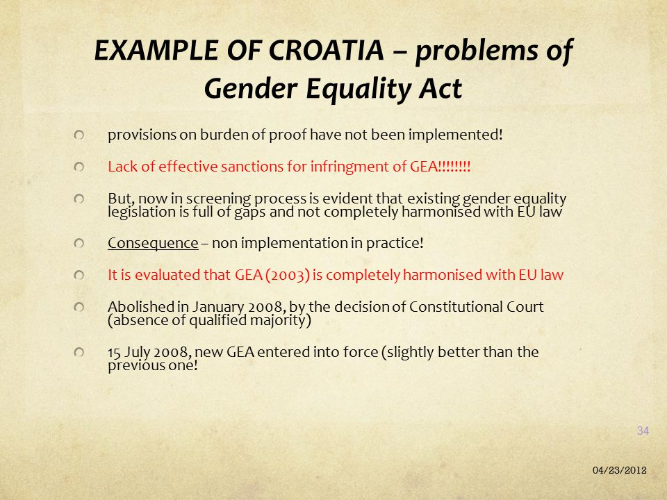 EXAMPLE OF CROATIA – problems of Gender Equality Act