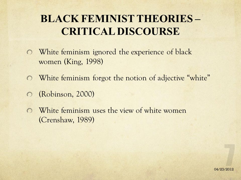 BLACK FEMINIST THEORIES – CRITICAL DISCOURSE