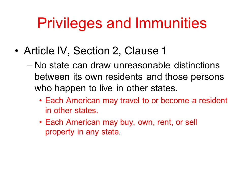 Privileges and Immunities