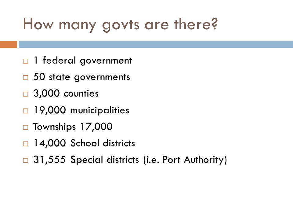 How many govts are there