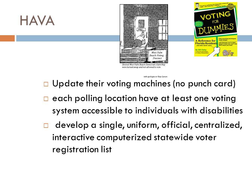 HAVA Update their voting machines (no punch card)