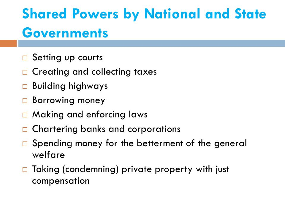 Shared Powers by National and State Governments
