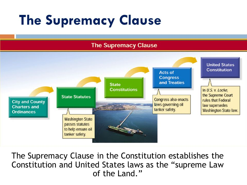 The Supremacy Clause The Supremacy Clause in the Constitution establishes the Constitution and United States laws as the supreme Law of the Land.