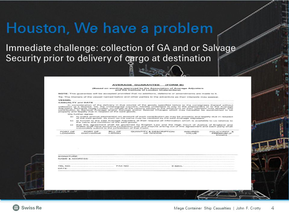 Immediate challenge: collection of GA and or Salvage Security prior to delivery of cargo at destination