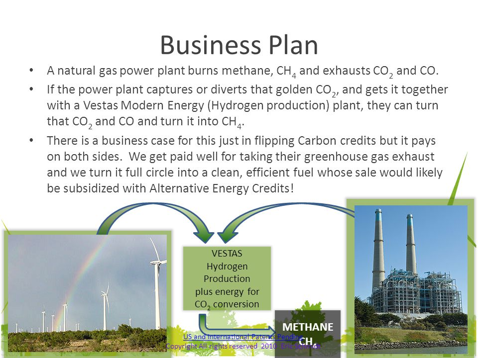 Business Plan A natural gas power plant burns methane, CH4 and exhausts CO2 and CO.