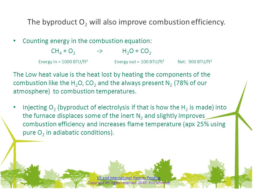 The byproduct O2 will also improve combustion efficiency.
