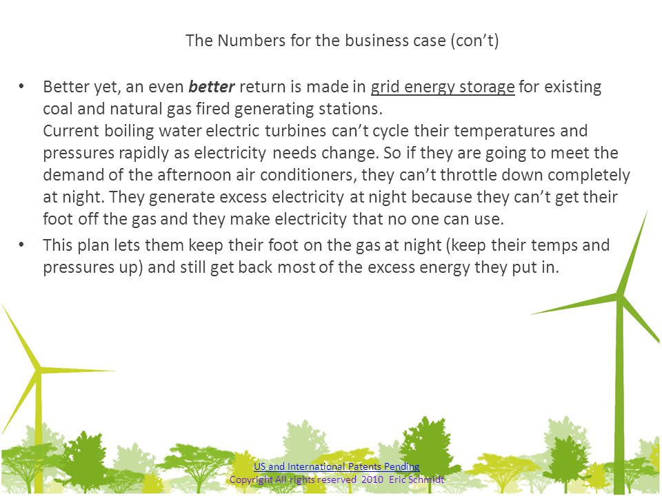 The Numbers for the business case (con't)