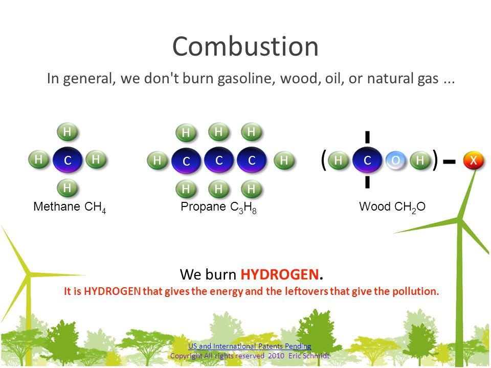 Combustion In general, we don t burn gasoline, wood, oil, or natural gas ... H. H. H. H. ( ) C.