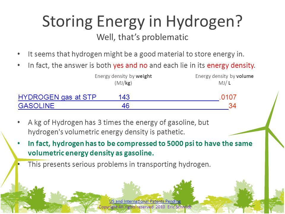 Storing Energy in Hydrogen Well, that's problematic