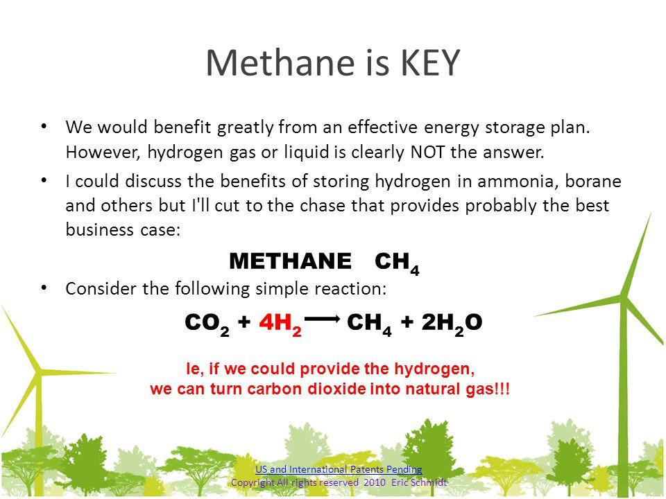 Methane is KEY METHANE CH4 CO2 + 4H2 CH4 + 2H2O