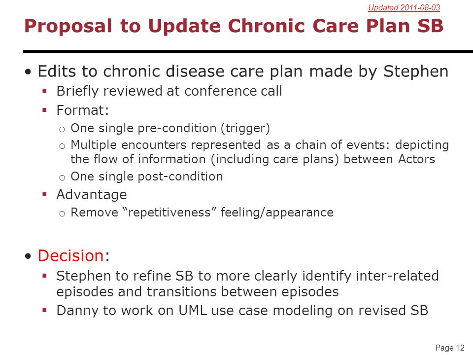Proposal to Update Chronic Care Plan SB