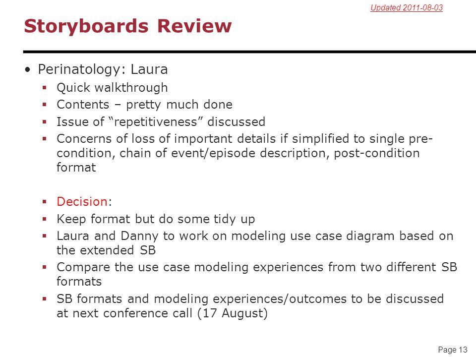 Storyboards Review Perinatology: Laura Quick walkthrough