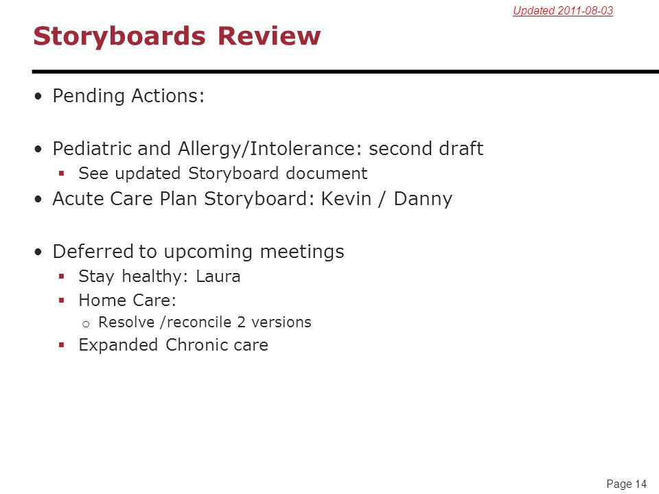 Storyboards Review Pending Actions: