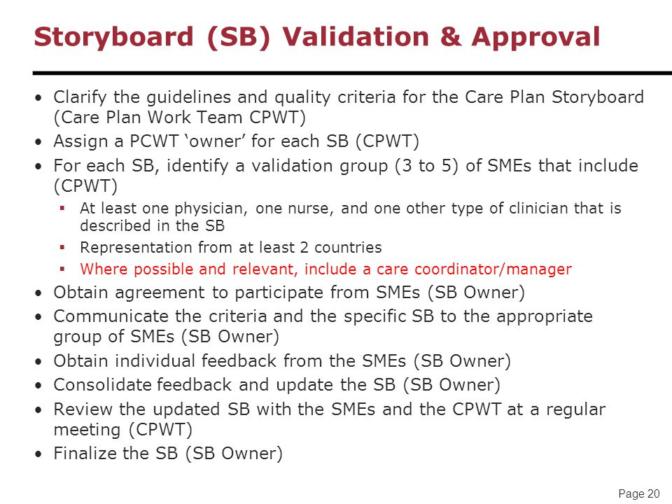 Storyboard (SB) Validation & Approval