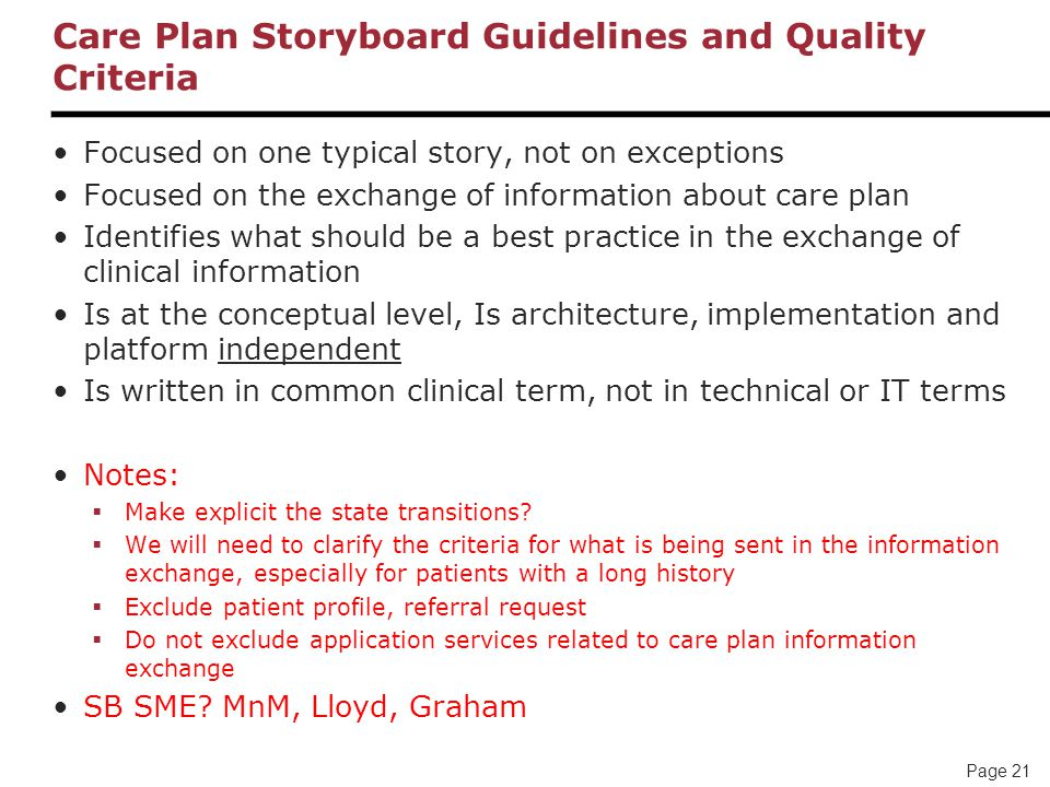 Care Plan Storyboard Guidelines and Quality Criteria