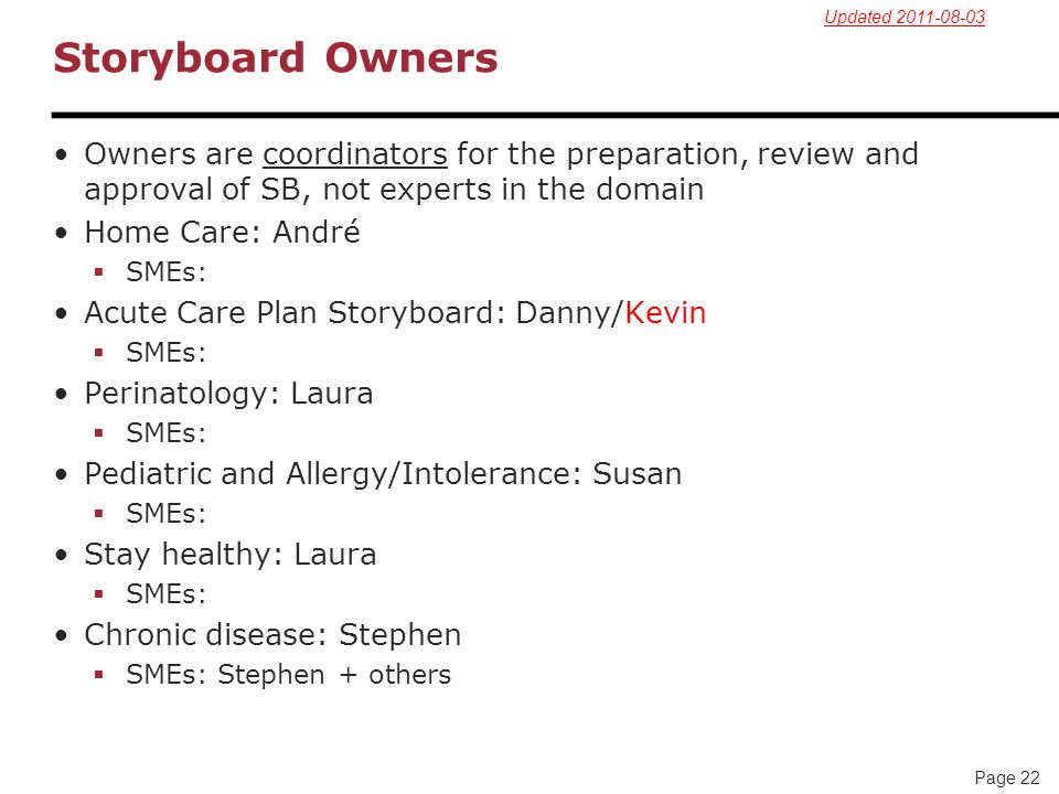 Updated 2011-08-03 Storyboard Owners. Owners are coordinators for the preparation, review and approval of SB, not experts in the domain.