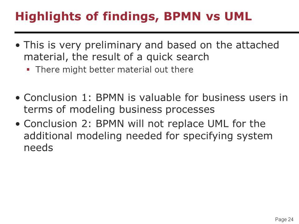 Highlights of findings, BPMN vs UML