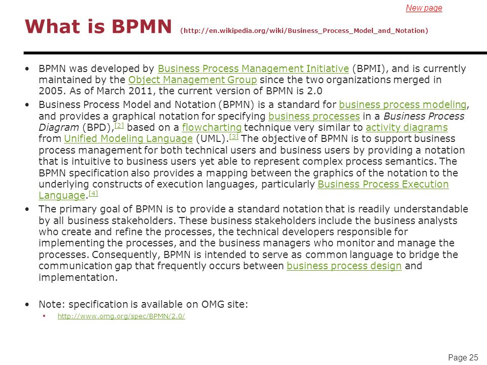 New page What is BPMN (http://en.wikipedia.org/wiki/Business_Process_Model_and_Notation)