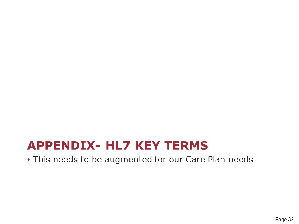 Appendix- HL7 Key terms This needs to be augmented for our Care Plan needs