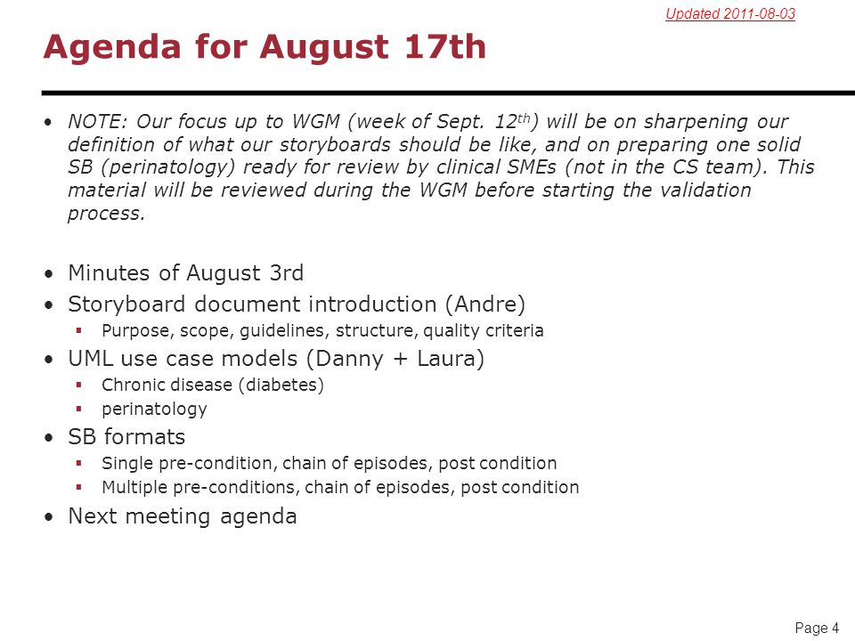 Agenda for August 17th Minutes of August 3rd
