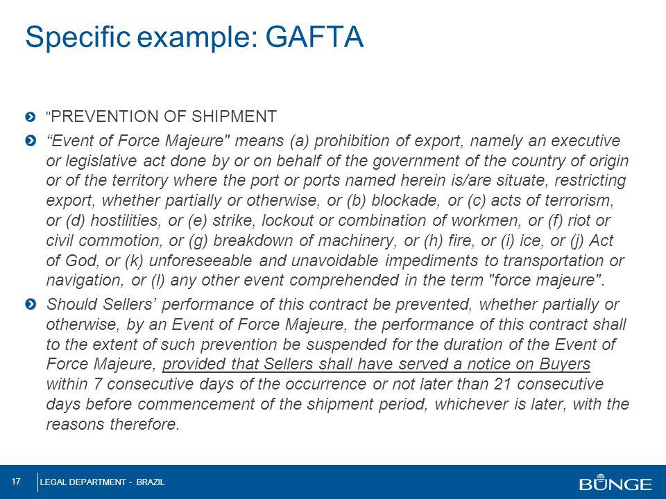 Specific example: GAFTA