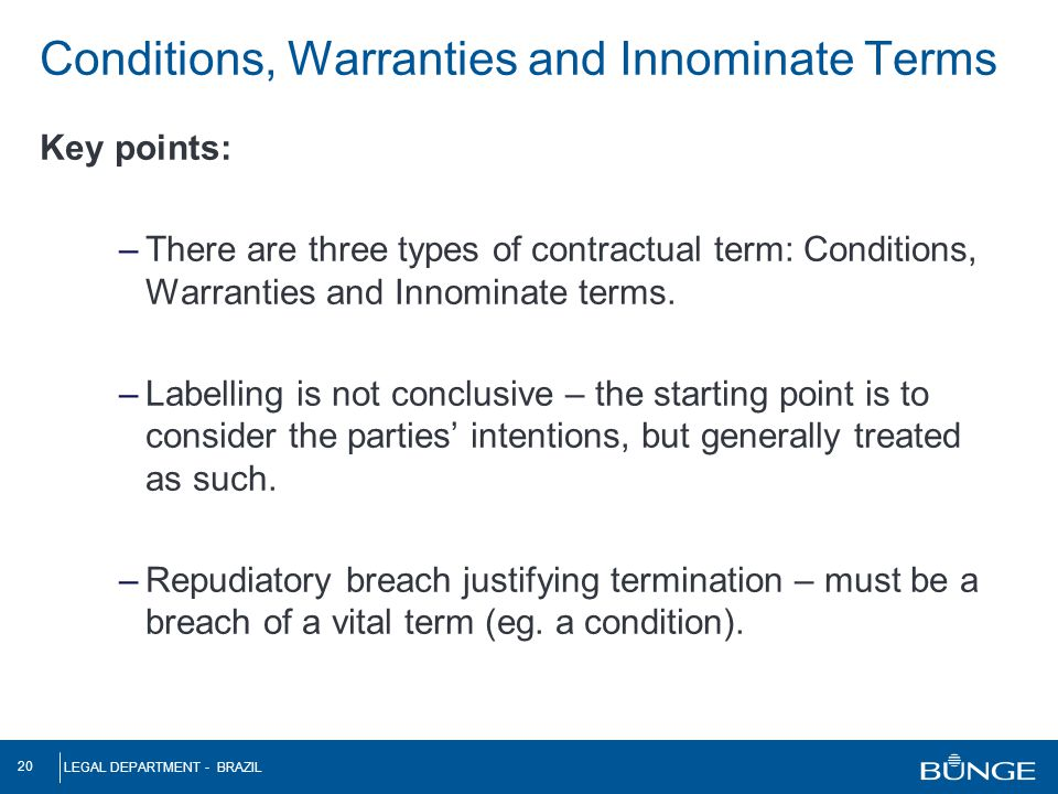 Conditions, Warranties and Innominate Terms