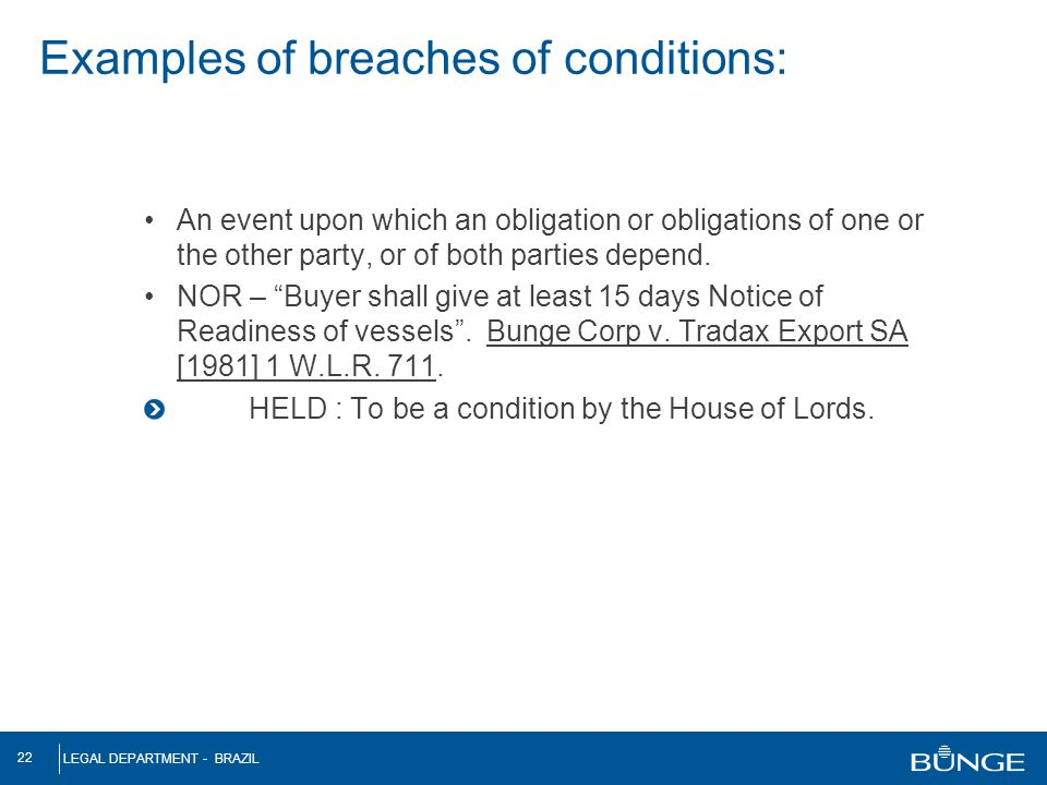 Examples of breaches of conditions: