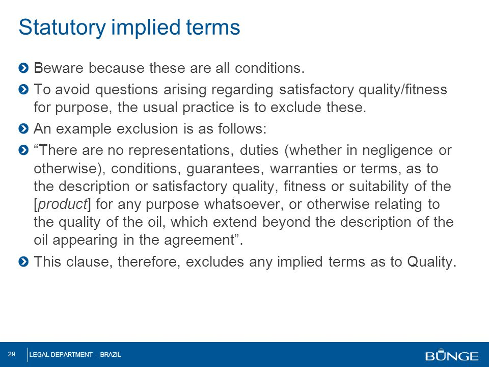 Statutory implied terms