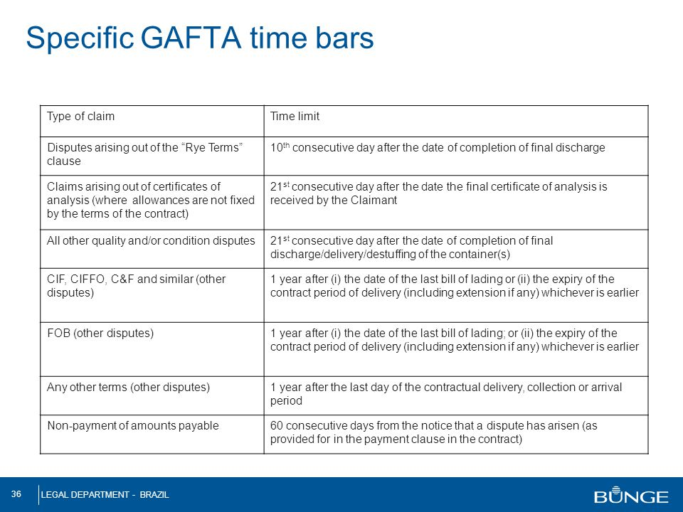 Specific GAFTA time bars