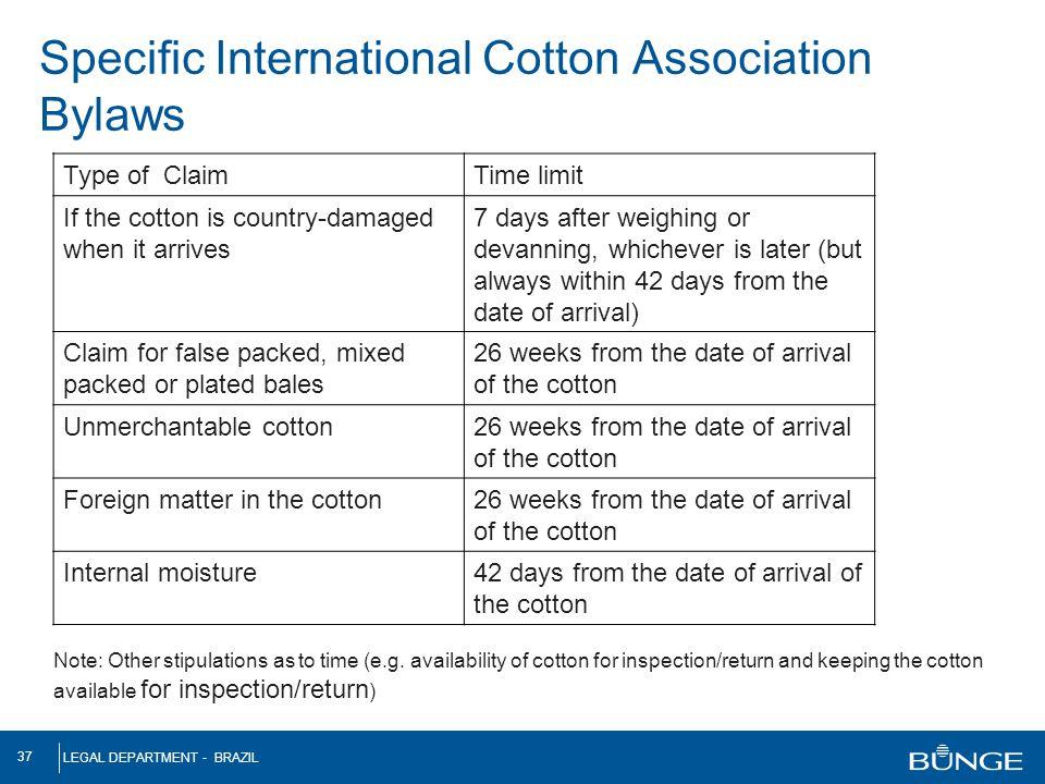 Specific International Cotton Association Bylaws