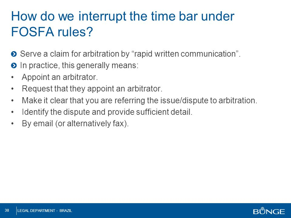 How do we interrupt the time bar under FOSFA rules
