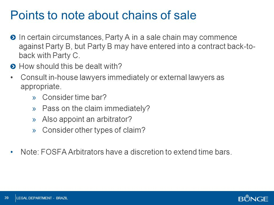 Points to note about chains of sale