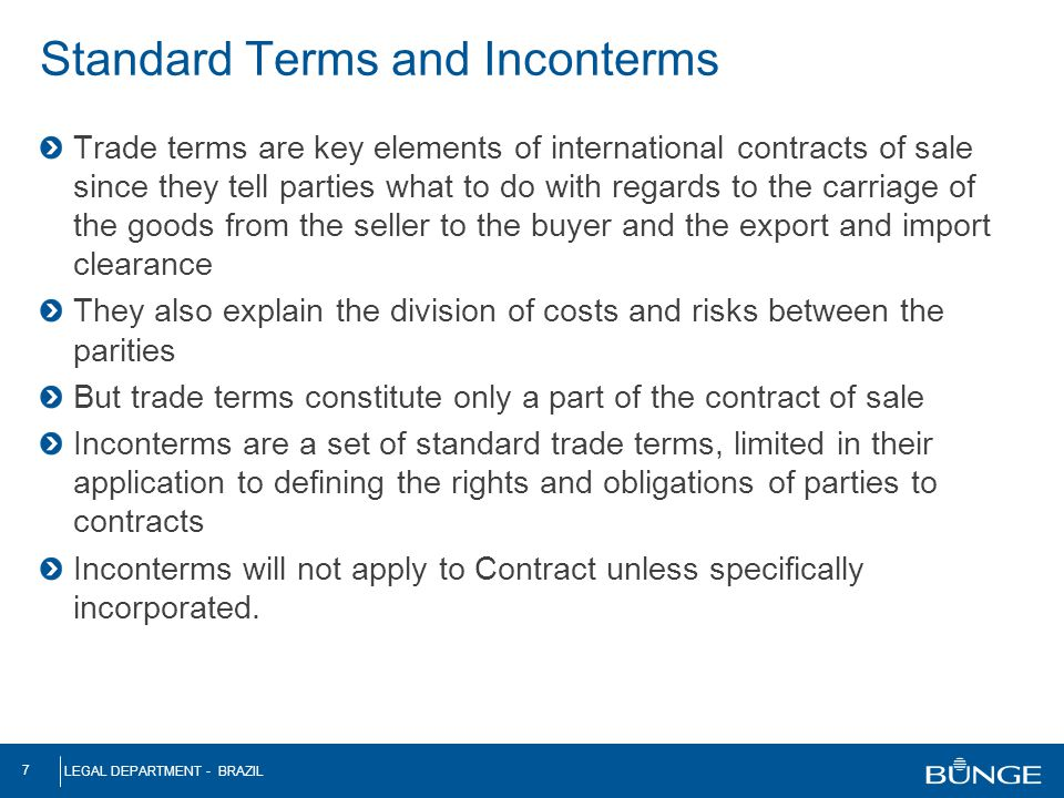 Standard Terms and Inconterms