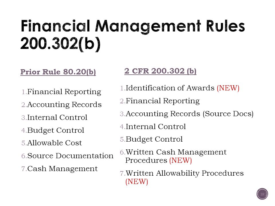 Financial Management Rules 200.302(b)